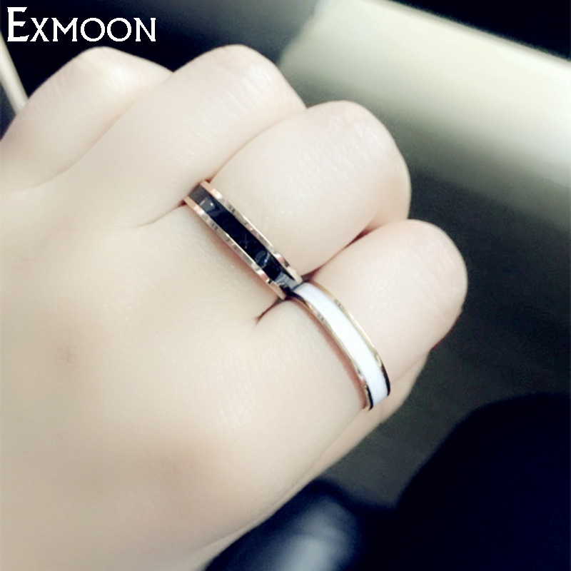 EX-MOON New Fashion 4mm Width Black&White Ceramic Rings For Women Titanium Stainless Steel Wedding Band Ring Hot Sale J040