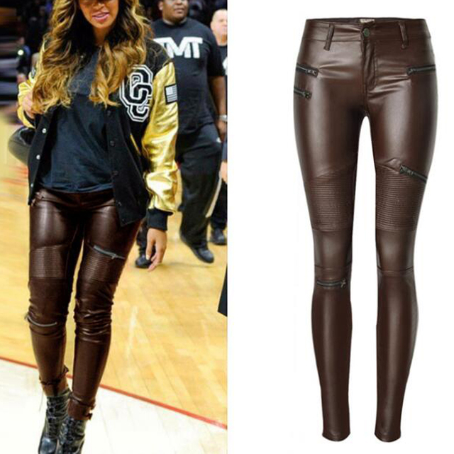 New Fashion Brown Faux Leather Pants Women Elastic Zipper Leather Pants  Trousers Plus Size 2018 Bicycle
