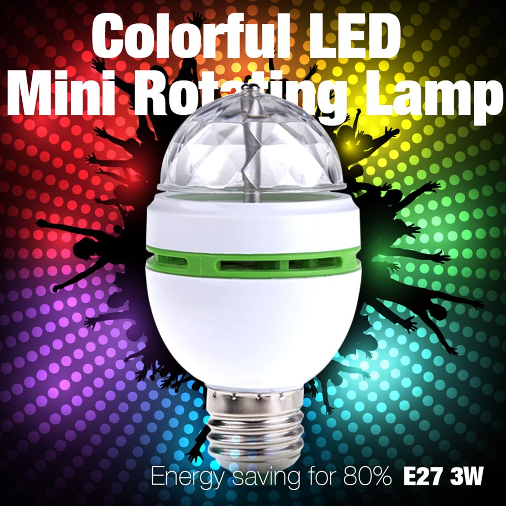 E27 3W AC90-260V Colorful Auto Rotating RGB LED Bulb Stage Light Disco DJ Party Lamp Holiday Bulb For Bar KTV Lighting