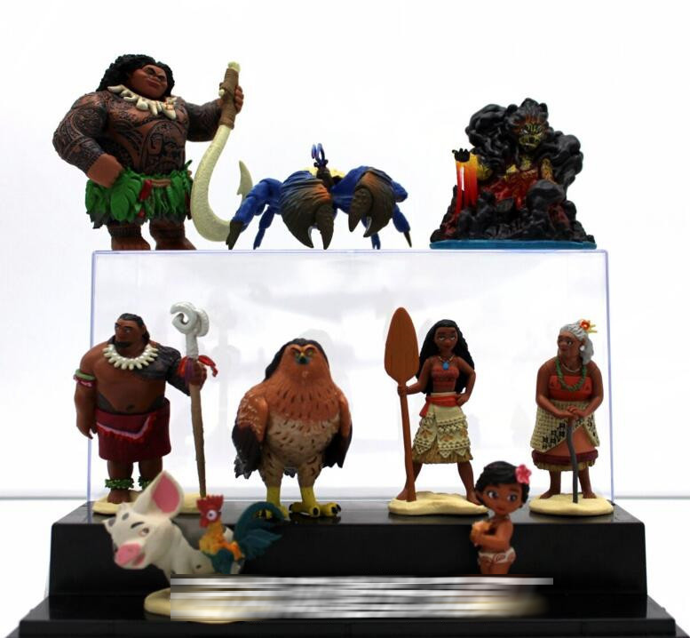 10pcs/set Moana Princess Maui Chief Tui Tala Heihei Pua Villager Tamatoa Dolls PVC Action Figure Toys Brinquedos 7-10cm 5%