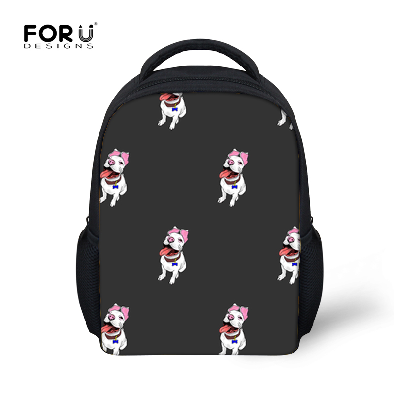 FORUDESIGNS Children Kindergarten School Bags Girls Bull Terrier Printing Schoolbag for Kids Boys Small School Shoulder Backpack