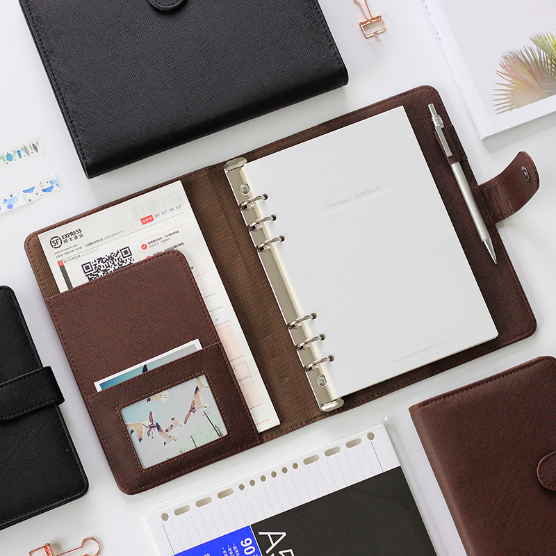 Deli Portable Notebook Loose-leaf Detachable Buckle Ring Thickening Filofax A5 Business Notebook Stationery Office A6 Workbook