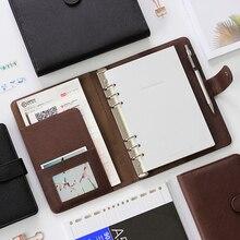 Deli cuaderno portátil de hojas sueltas, anillo de hebilla desmontable, engrosamiento A5, cuaderno de negocios, papelería, oficina, cuaderno de trabajo A6