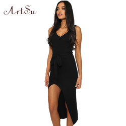ArtSu Causal Summer Women Solid Dresses Sleeveless Skinny Brand Chic Elegant Sexy Split Long Dress Belt Vestidos ASDR30718 3