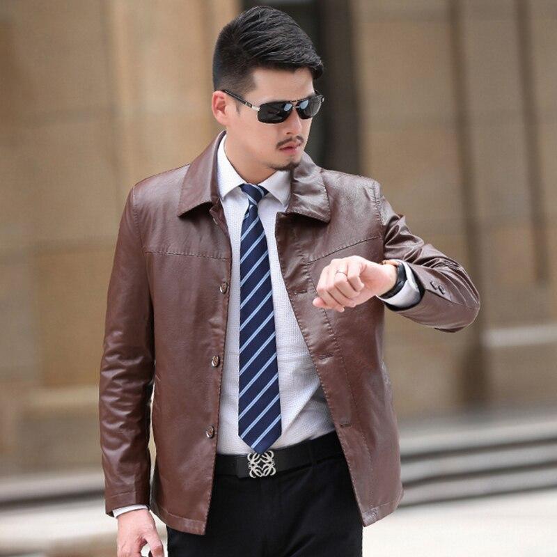 Formal Wear Handsome Handsome Imitate Sheepskin Leather Jacket Men ...