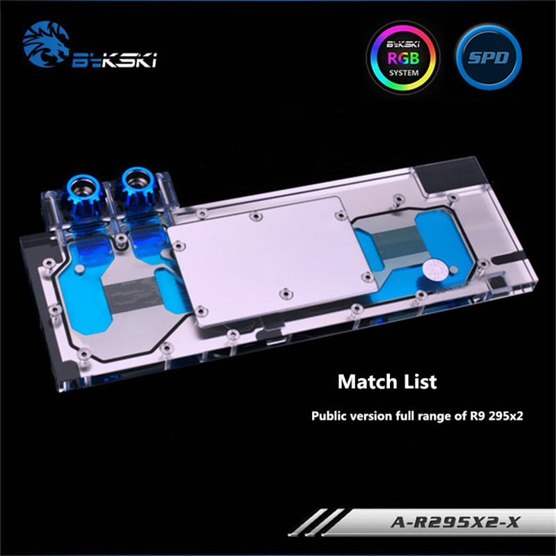 Bykski Full Coverage GPU Water Block For Public version full range of R9 295x2 Graphics Card A R295X2 X-in Fans & Cooling from Computer & Office    1
