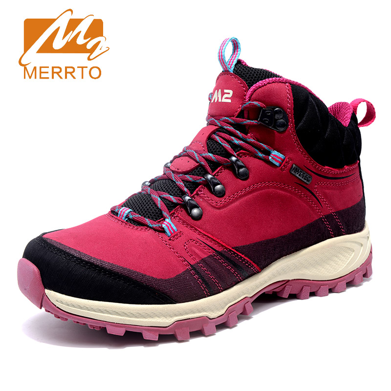 2018 Merrto Womens Climbing Shoes Breathable Hiking Shoes Warmth Non-slip Outdoor Sports Shoes For Women Free Shipping MT18696 2018 merrto womens outdoor walking sports shoes breathable non slip travel shoes for women purple rose red free shipping mt18665