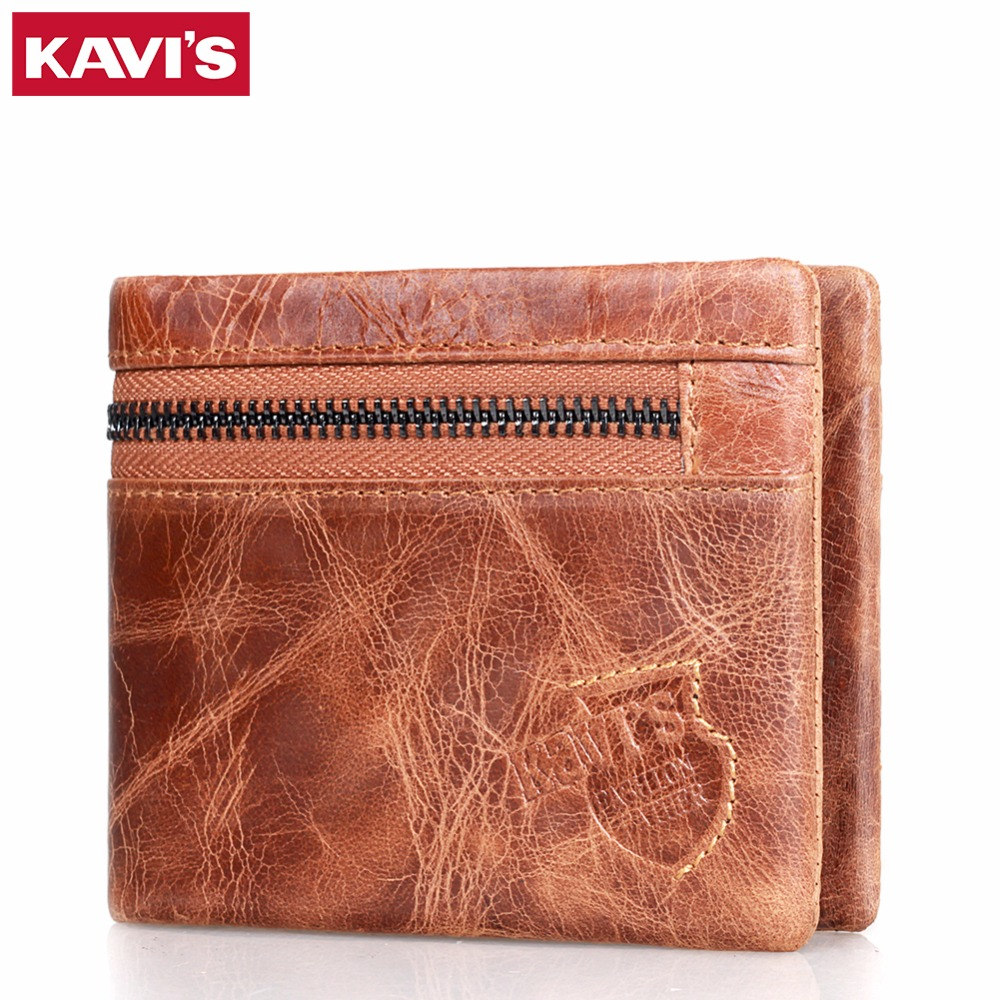 KAVIS Genuine Leather Men Wallet Brand Luxury Design Mini Small Coin Purse with Card Holder Money Bag vallet Male Cuzdan Magic