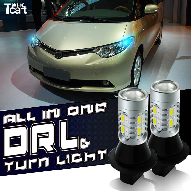 Tcart led DRL Daytime Running Lights Hidupkan Sinyal cahaya Semua - Lampu mobil - Foto 3