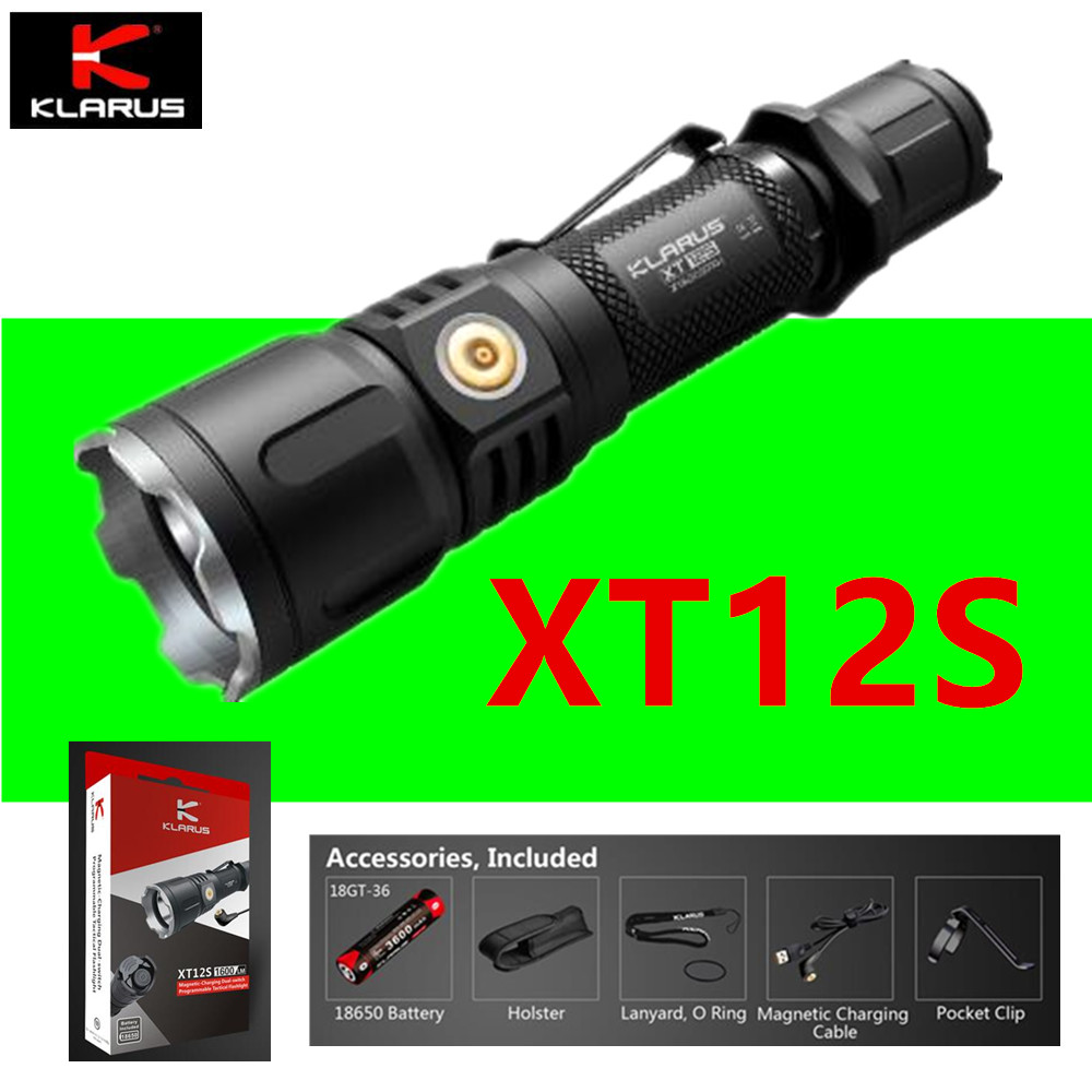 Original Klaurs XT12S Flashlight 1000 Lumens included 18650 rechargeable battery and USB direct charging port and holster