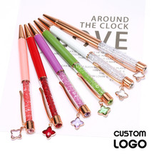 1pc 0.7mm Multi-color Crystal Pens Creative Four-leaf Clover Pendant Ballpoint Pens Wedding Gifts Stationery Offices Custom Logo