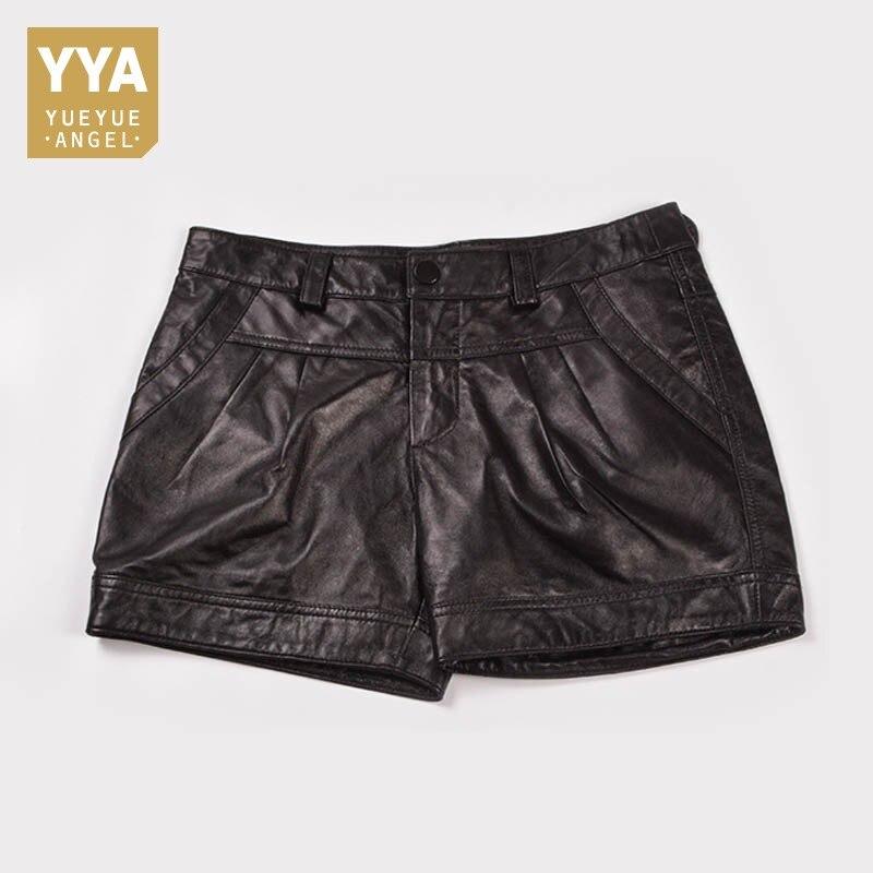 Mode coréenne 2019 été femmes en cuir noir Shorts décontracté drapé taille basse court Feminino taille 3XL OL Mini pantalon femme