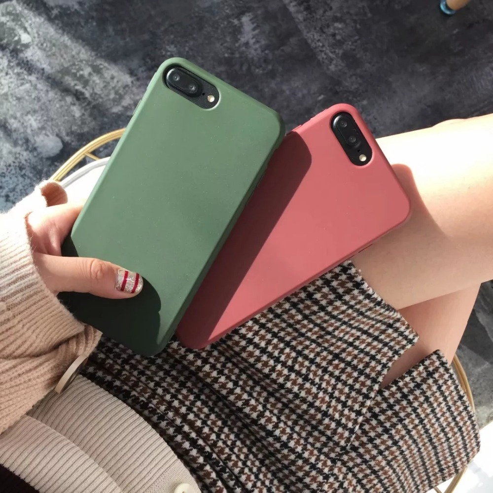 for iphone XR XS XMAX matte Phone Case For iPhone 7 6S 8 Plus Soft Silicone TPU Back Cover For iPhone X 6 S 5 5S se 7 plus Coque image