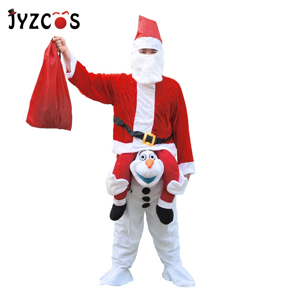 JYZCOS Adult Santa Claus Costume Olaf Mascot Costume for Women Men Christmas Cosplay Costume Halloween Party Fancy Dress