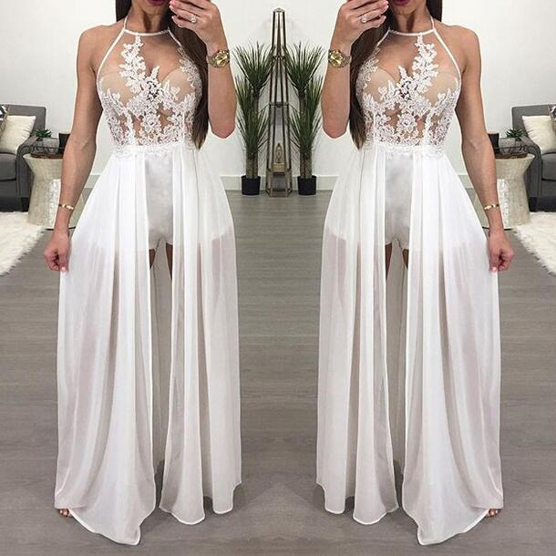 9c09d233445 Elegant Floral Embroidery Maxi Skirt Romper 2018 Sexy Backless Chiffon  Short Jumpsuits Overalls for Women Playsuit WF782-in Rompers from Women s  Clothing on ...
