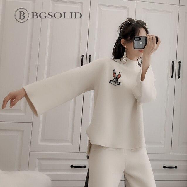 En Pattes Tricoté Version Large De Double Mode Pantalon 2019 Beige Tempérament Deux Cachemire face Coréenne Femmes pièces Costume H6qwz6
