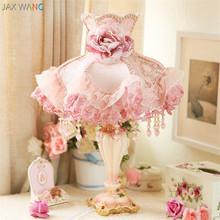 European Simple Lace cloth garden table lamps for living room Led Bed lamp bedside light table light lamps Tafellamp bedroom(China)