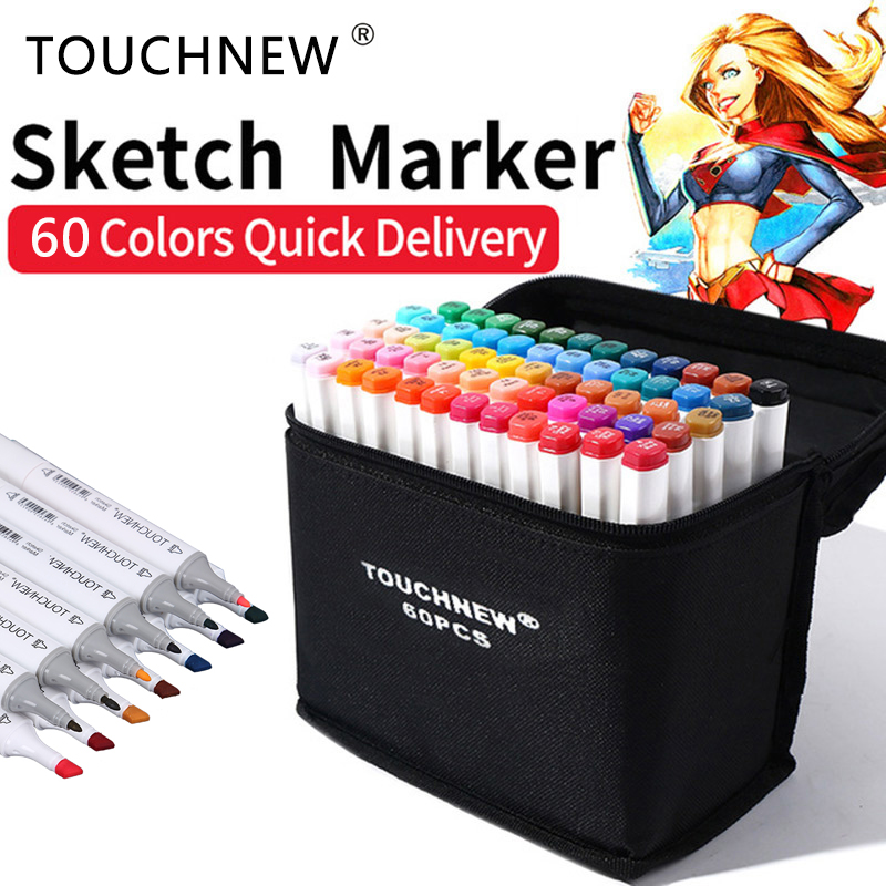 TOUCHNEW 60 Color Copic Art Marker Alcohol Based Sketch Markers Brush Pen For Drawing Manga Art Supplies Markers dual head drawing sketch markers set brush manga sketch color marker pen alcohol based pens for school drawing art marker