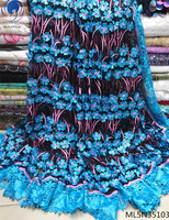 Beautifical 3d laces fabric african fabrics 2019 high quality appliqued fabric dress with sequins for women 5yards/lot ML5N351