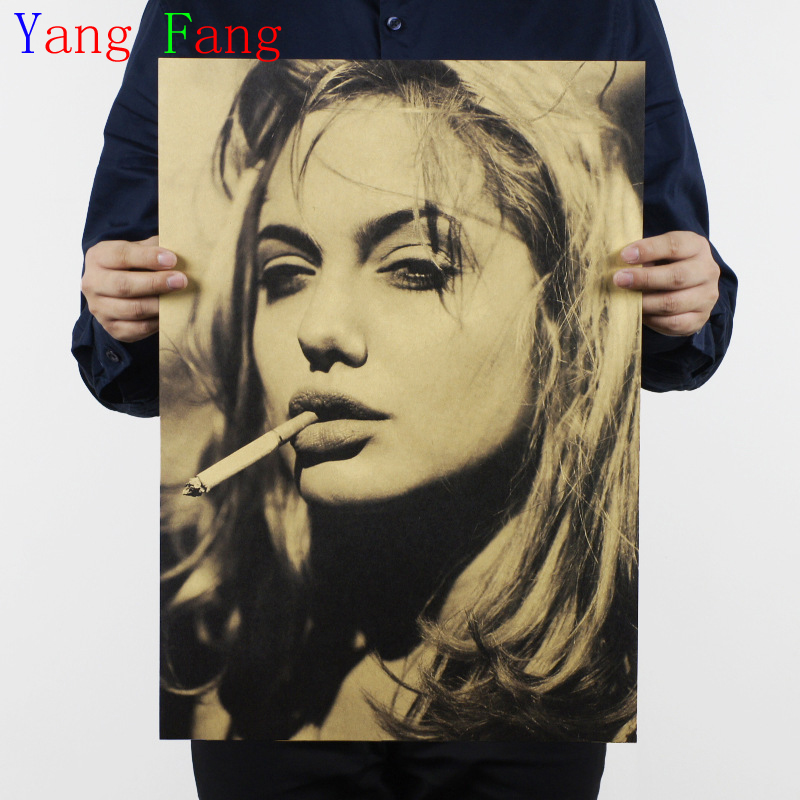 Angelina Jolie Vintage Poster Wall Bar House Cafe Art Retro Decoration Unique Gift 51*35cm