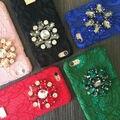 Marca de moda de la vendimia de encaje rhinestone bling case cubierta del teléfono para para el iphone 6,6 s, 6 plus, 6 splus, 7,7 plus de lujo sexy backshell