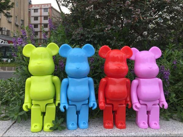 400% bearbrick bear@brick DIY Paint PVC Action Figure Pure Painted Color With Opp Bag high quality oversize 52cm bearbrick be rbrick matt diy pvc action figure toys bearbrick blocks vinyl doll 3 color optional