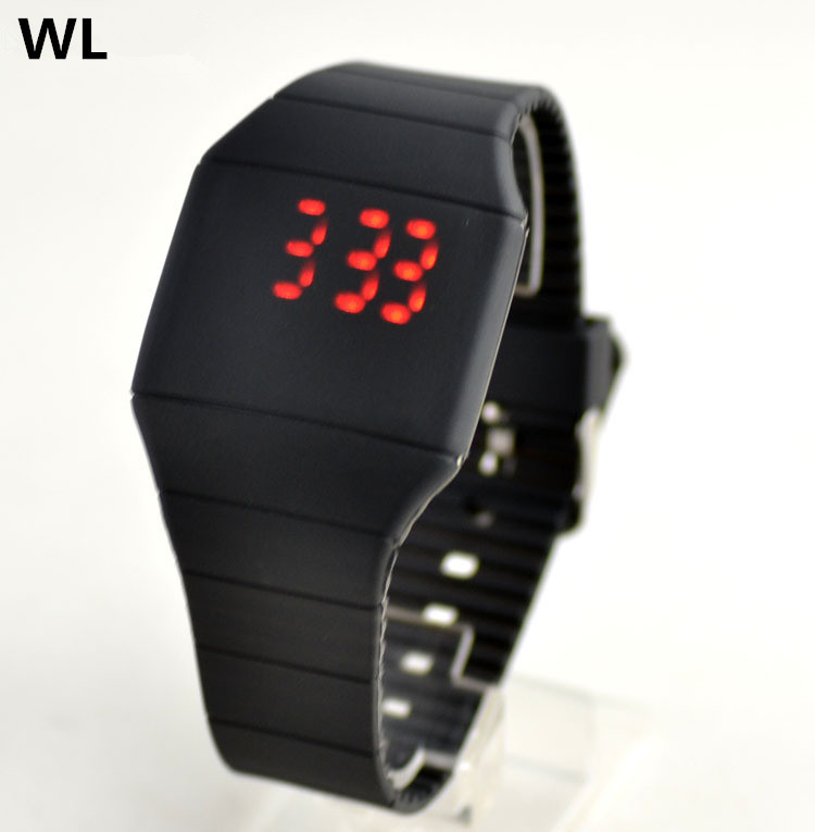 Free Shipping 10pcs/lot Wholesales Hot Sales Fashion Women Men Couple Square LED Ultra-thin Touch Silicone Electronic Watch