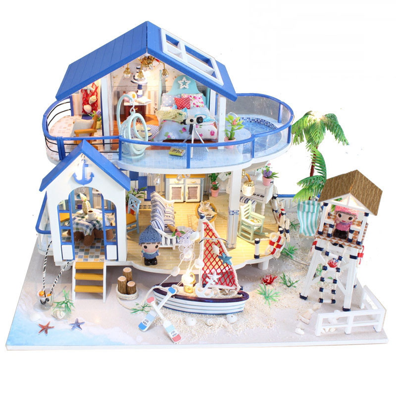 New Blue Sea Beach Diy Doll House Wooden Miniature Handmade Dollhouses With Furniture And Light Toys For Children Birthday Gift