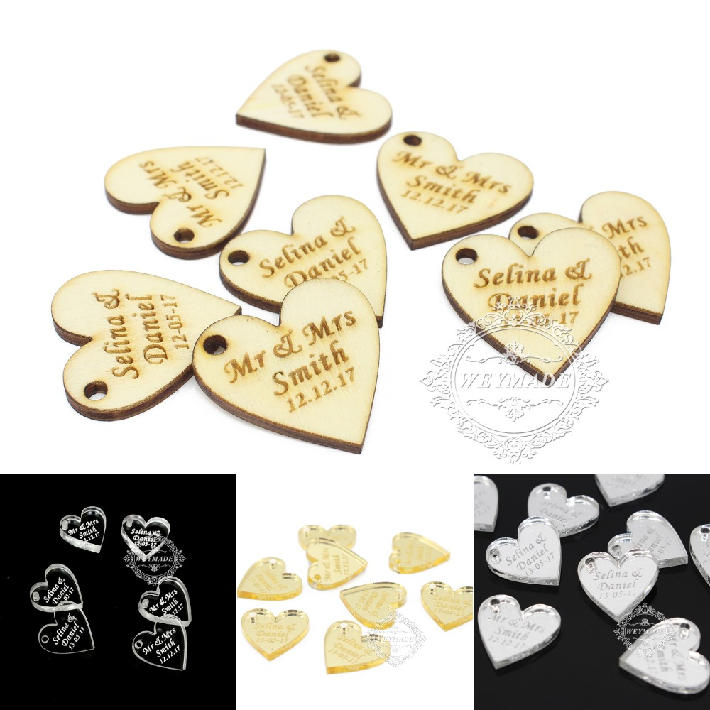 50 Pieces Personalized Engraved Baby Shower Love Heart Decor Vintage ...