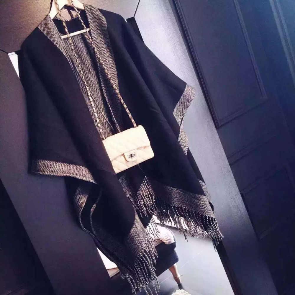Nuovo di Zecca coperta sciarpa stola Cachemire Delle Donne di lusso del progettista Poncho Duplex di Inverno Del Capo Scialli e Sciarpe bandana 180x130 CM
