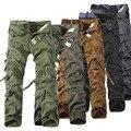 Caliente venta 2016 hombre pantalones de algodón Casual militar del ejército pantalones Cargo moda con múltiples bolsillos pantalones de trabajo Combat pantalones ( sin correa )