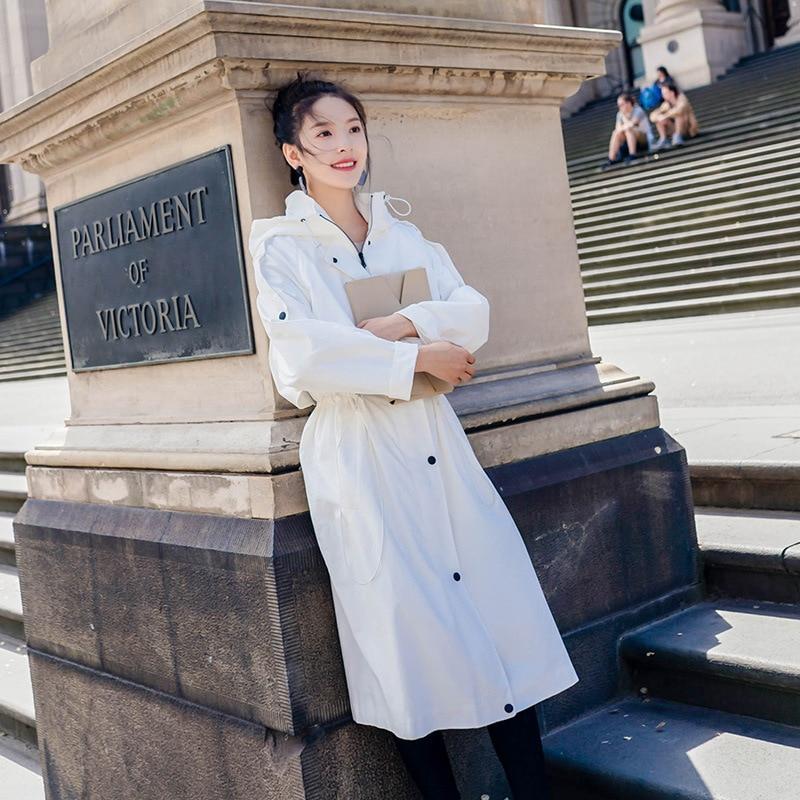 Taille Femmes Étudiant Automne coat Bf Épaulette 2018 Printemps Trench long Nouveau Lâche Blanc Réglable X R6xqwFF