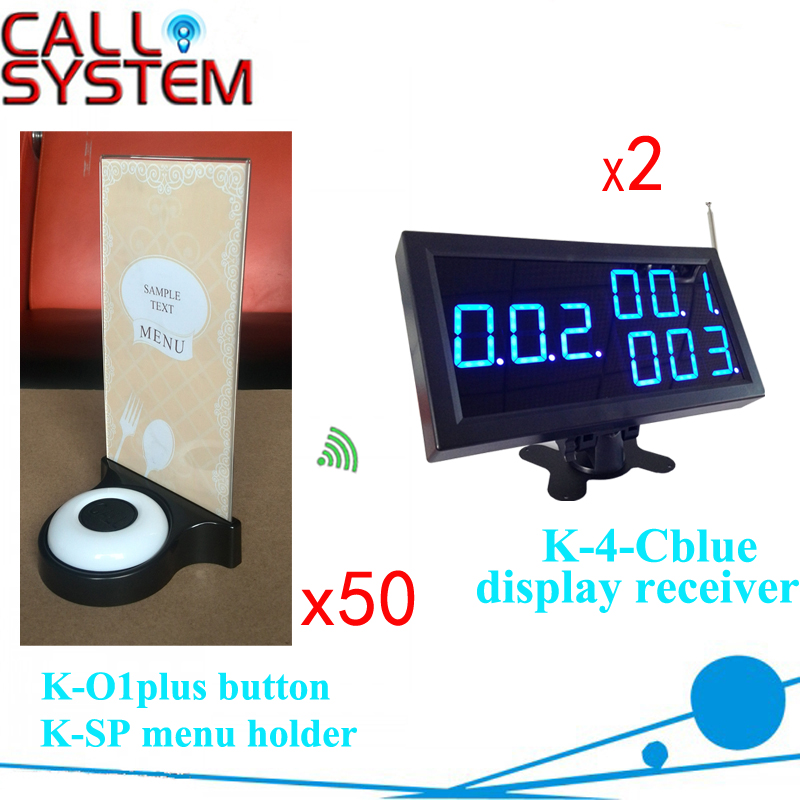 Restaurant Waiter Calling System 2 displays 50 transmitter with menu base wireless paging service