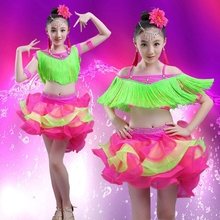 Child Latin Dance Costume Tassel Dancewear Standard Kids Competition Dress Girls Salsa Ballroom Dancing Costumes