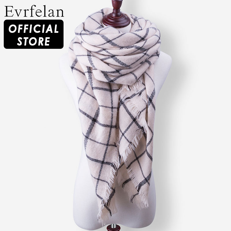 Evrfelan Warm Plaid Blanket Designer Women's Scarves Shawls