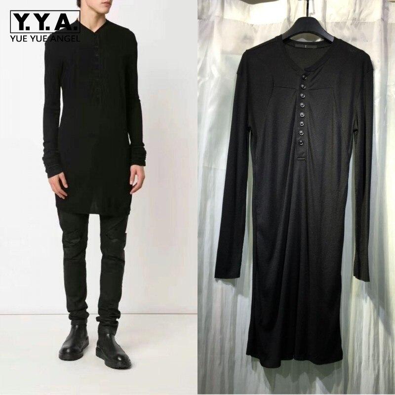 Punk sombre série boutons 100% pur coton hommes T-shirt noir longues T-shirts hauts hommes à manches longues gothique décontracté T-shirts Streetwear
