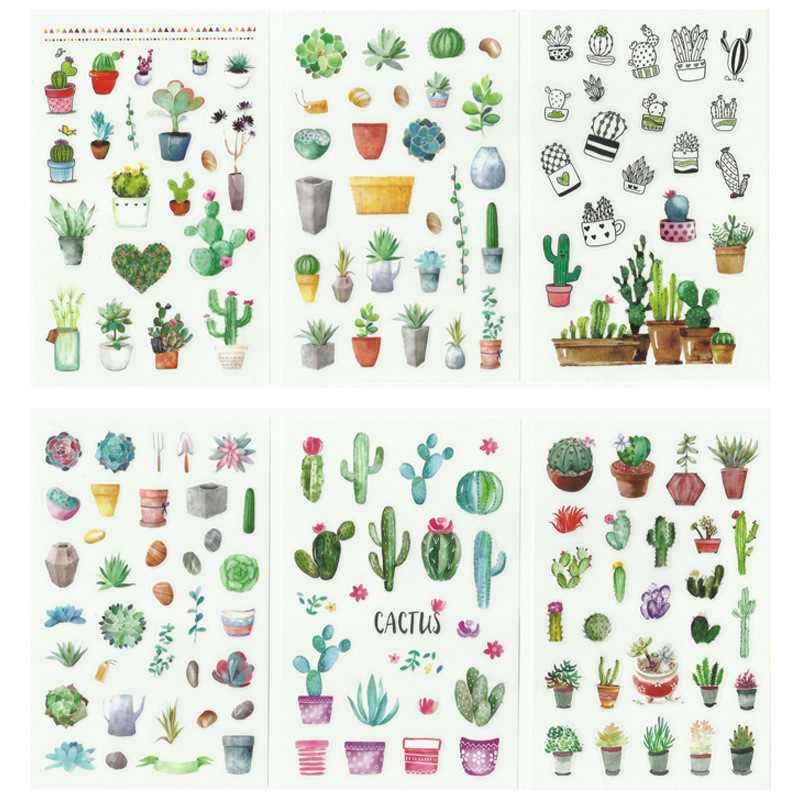 6Pcs/Pack Green Cactus Plant Decorative Quality Stickers Scrapbooking Sticky Label Diary Stationery Album Stickers School Tools
