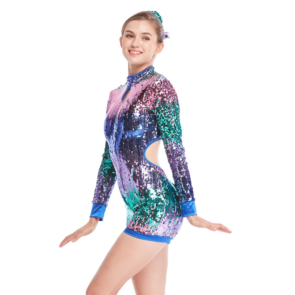 Fully Sequins Ombre Jazz Costume Biketard Dance Performance Wear Tap Outfits
