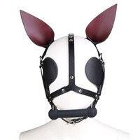 Genuine Leather Bdsm Mask With Open Mouth Gag Blindfolded Dog Mask Bondage Gear Hood Fetish Slave Adult Games Toys For Couples