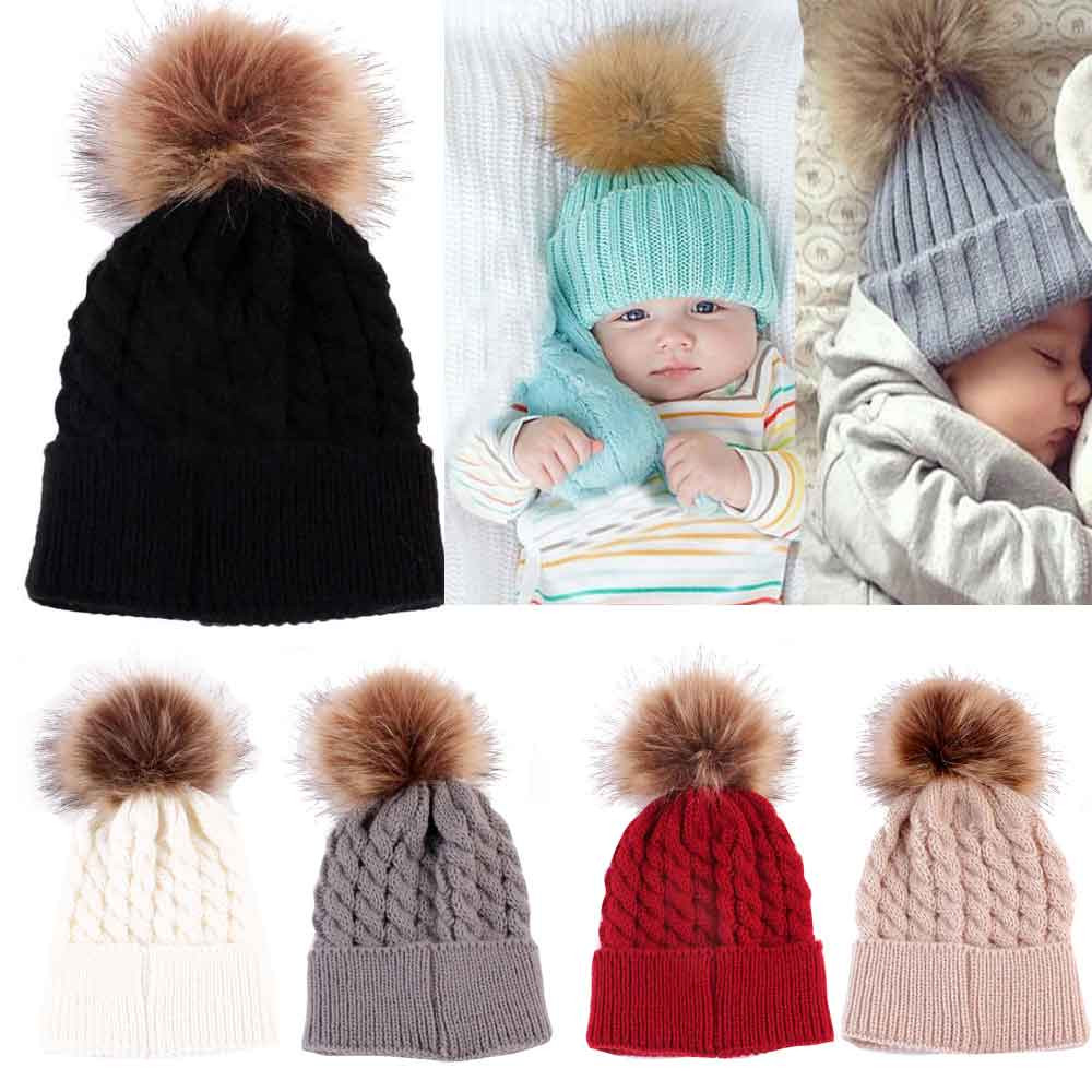 1pc Cute Newborn Baby Winter Hat Cap Kids Girl Boy Knitted Hats Caps Wool Fur Ball Pompom for baby girls SKullies Beanies skullies beanies newborn cute winter kids baby hats knitted pom pom hat wool hemming hat drop shipping high quality s30