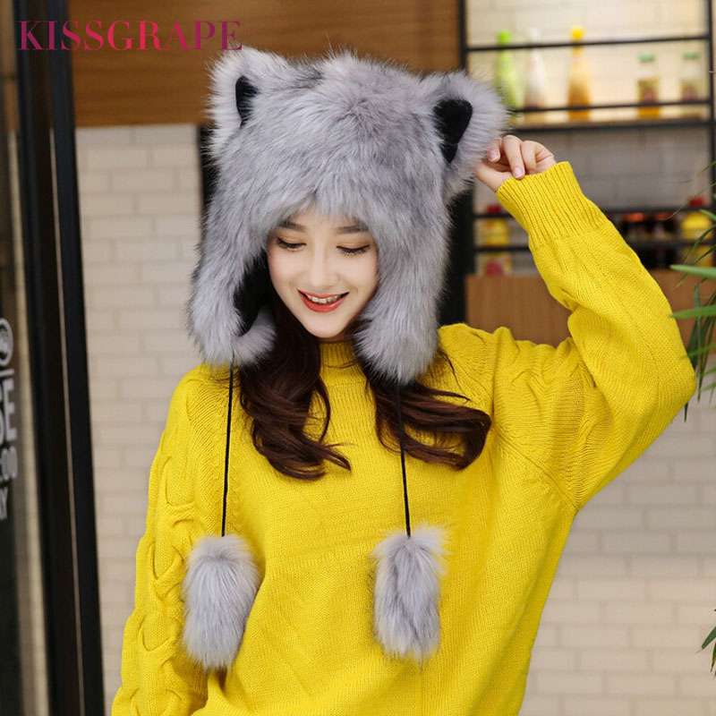 Winter Fox Fur Caps Womens Warm Caps Hats with Cat Ears Ladies Cute Caps Beanies with Ear Flaps Kids Warm Party Cap Female Gift