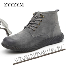 ZYYZYM Steel Toe Shoes Men Safety Boots Pig Skin Industrial & Construction Work Protection Outdoors Man