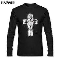 Lion of Judah Jesus Cross Lion T shirt Men's Beautiful Tshirt For Adult Long Sleeve Cotton Round Neck