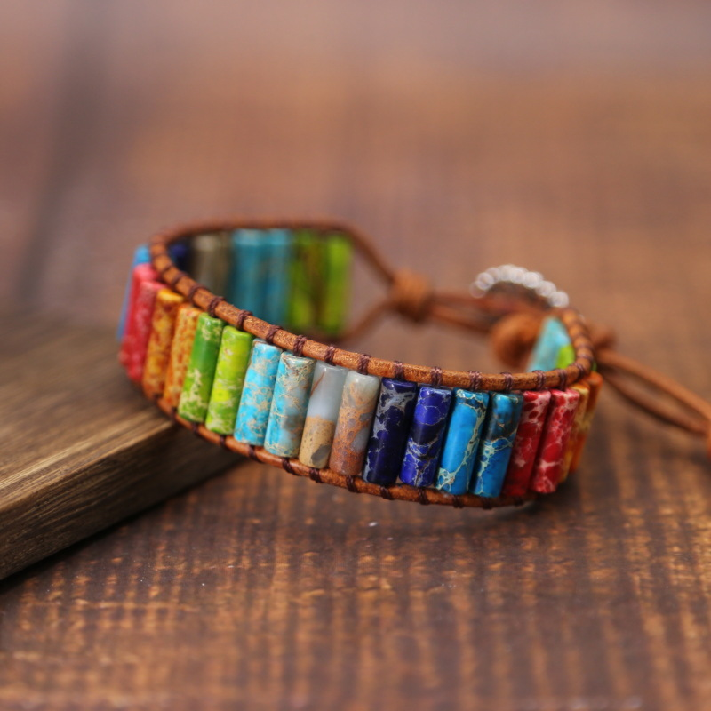 Chakra Bracelet Jewelry Handmade Multi Color Natural Stone Tube Beads Leather Wrap Couples Bracelets Creative Gifts Dropshipping(China)