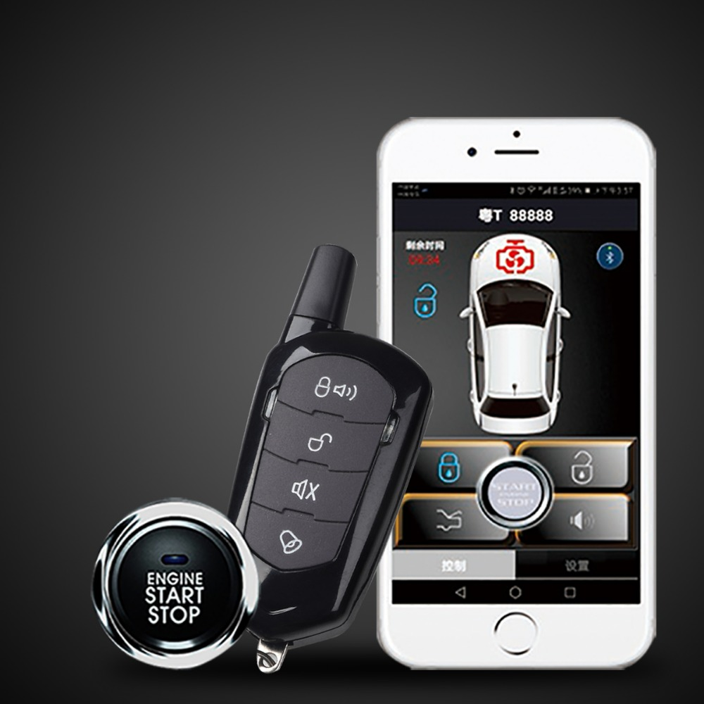 Smartphone App PKE Car Alarm System Push Button Start Remote Engine Start Stop Auto Passive Keyless Entry Kit Password Keypad