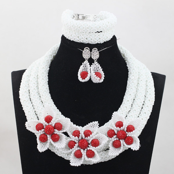 Unique White Crystal Handmade Jewelry Sets Nigerian African Wedding Bridal/Women Beads Necklace Jewelry Set Free Shipping ANJ280 graceful white african bridal beads jewelry set nigerian crystal rhinestone bridesmaid women wedding necklace free ship qw677