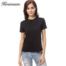 1f241c509fe Hirsionsan perlas camiseta mujer 2018 verano manga corta negro camiseta para  las mujeres algodón casual cuello redondo tops cami.