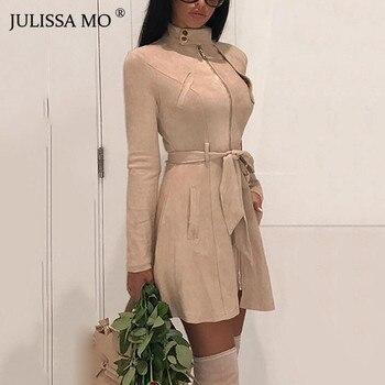 JULISSA MO Suede Leather Vintage Zipper Bandage Dress Women 2018 Autumn Long Sleeve Turtleneck Sexy Mini Party Dresses Vestidos