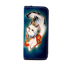 Special Gifts Chinese Style Lovely White Fox Hand-made Wallets Bag Purses Women Lady Long Clutch Vegetable Tanned Leather Wallet