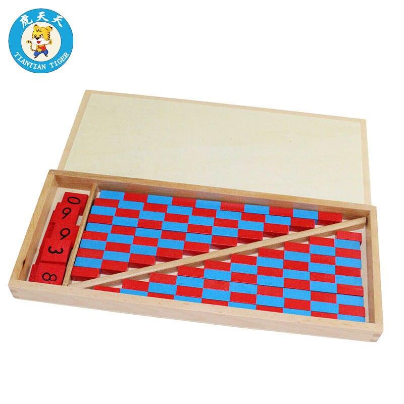 Montessori Bébé Jouets Mathématiques Éducation Jouets En Bois Rouge Et Bleu Bar Avec Boîte De Rangement Numéro 1-10